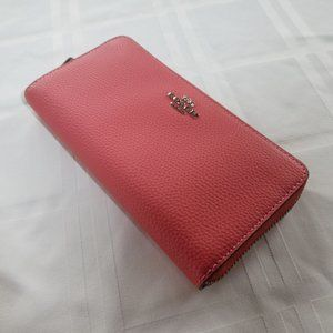 COACH Zip Around Leather Phone Wallet F16612 Coral